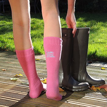 Personalised Welly Boot, Wool Socks