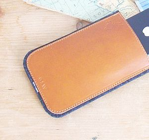 Personalised Leather And Felt iPhone Case