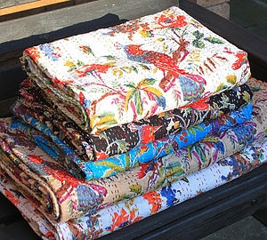 Bird Of Paradise Kantha Throw - table linen