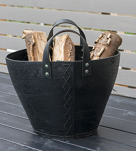 New Recycled Tyre Log Basket / Bucket - fireplace accessories