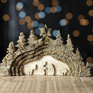 Nativity Bark Cutout Decoration - rustic christmas