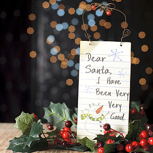'Dear Santa' Christmas Hanging Sign