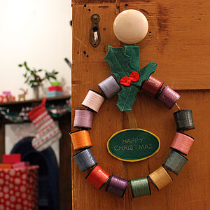 Christmas Cotton Reel Wreath