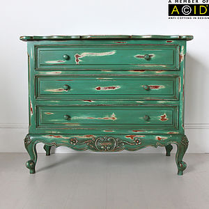 Green French Three Drawer Chest Of Drawers - bedroom