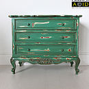 Green French Three Drawer Chest Of Drawers