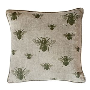 Green Repeating Bee On Natural Linen Cushion - living room