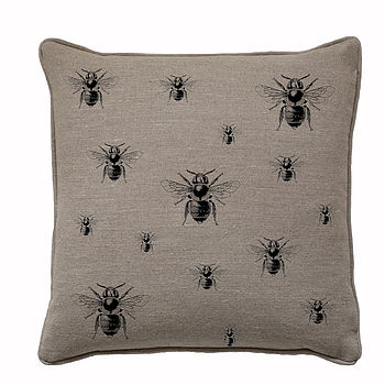 Black Repeating Bee On Natural Linen Cushion