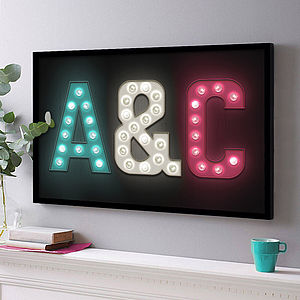 Personalised Marquee Letter Initials Print - prints & art