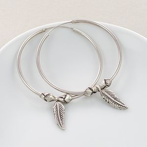 Freedom Feather Knot Silver Hoop Earrings - earrings