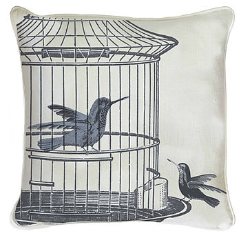 Two Caged Hummingbirds Cushion