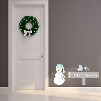 Santa Stop Here Christmas Fabric Wall Sticker