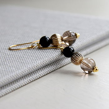 Smoky Quartz, Onyx And Gold Earrings