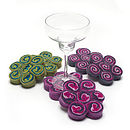 Handmade Felt Swirl Coasters Set Of Two