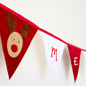 Merry Christmas Rudolf Bunting - garlands, bunting & hanging decorations