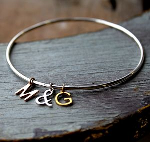 Personalised Letter Charm Bangle - bracelets & bangles