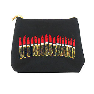 Embroidered Lipstick Pouch Noir - women's accessories