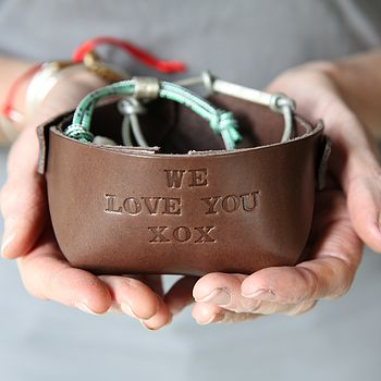 Personalised Leather Bowl