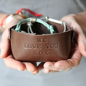 Personalised Leather Bowl - cufflink boxes & coin trays
