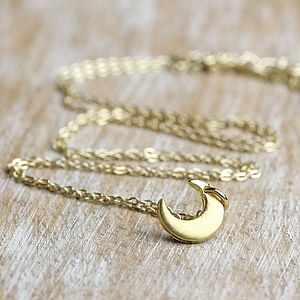 Brushed Gold Little Moon Necklace - jewellery