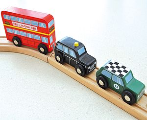 Wooden Set Of Three British Vehicle Toys