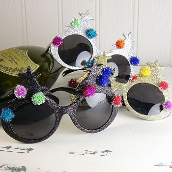 Glittered Christmas Tree Sunglasses