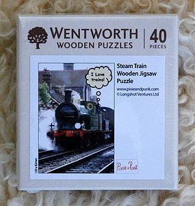 I Love Trains Micro Wooden Puzzle