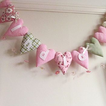 Personalised Fabric Heart Garland