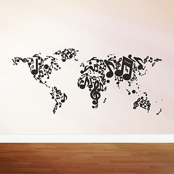 Music Themed Map Wall Sticker