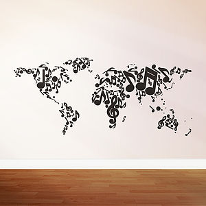 Music Themed Map Wall Sticker - wall stickers