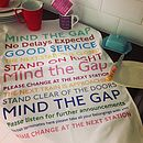Thumb mind the gap tea towel