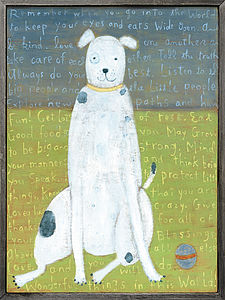 White Boy Dog Large Wooden Art Print - paintings & canvases