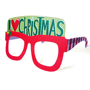 'I Love Christmas' Greetings Card Glasses - christmas parties & entertaining
