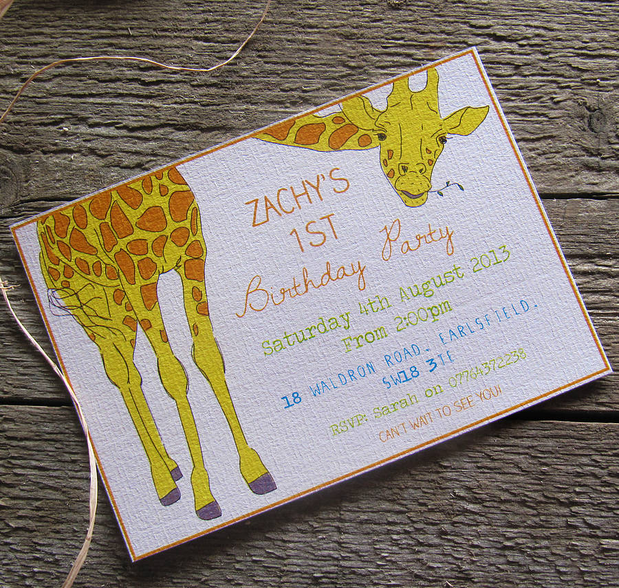 personalised giraffe party invitations by precious little plum – Giraffe Party Invitations