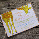 Personalised Giraffe 'Party' Invitations