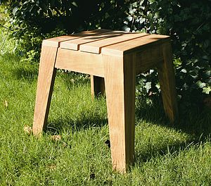 Wedged Wood Stool - garden furniture