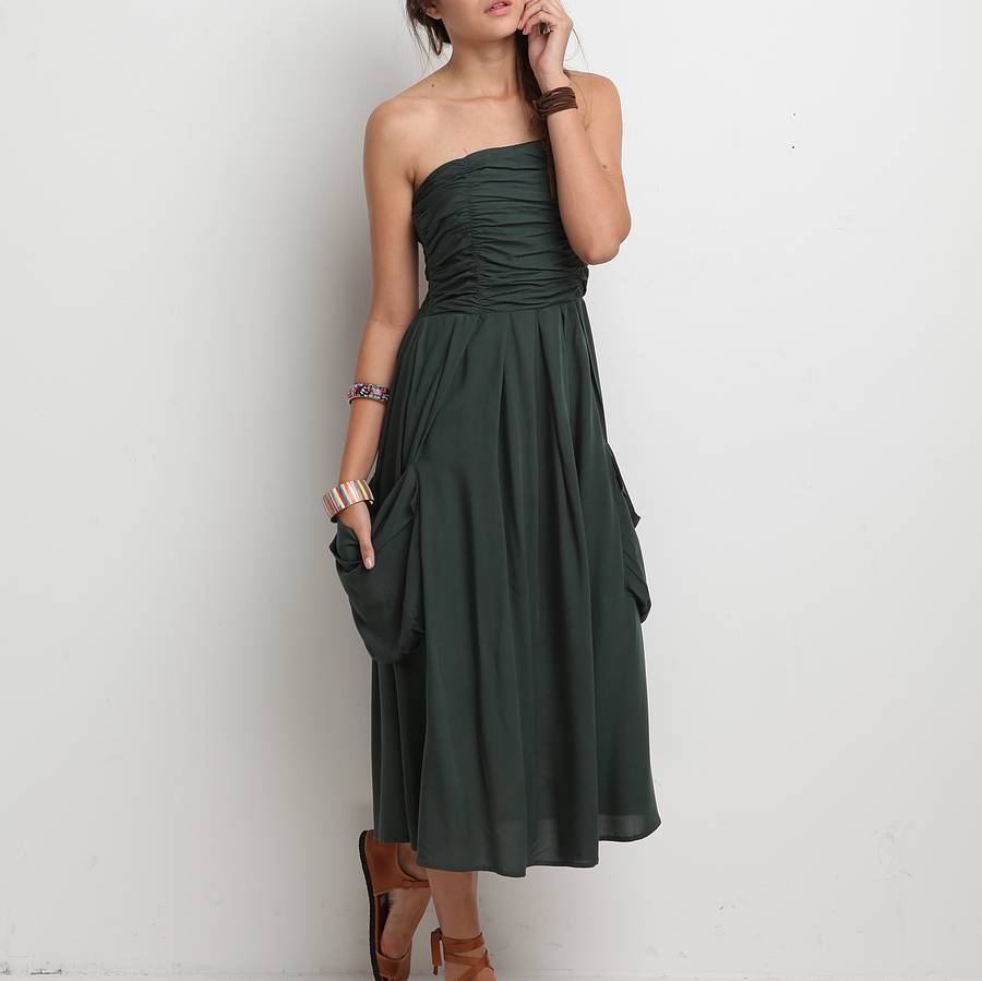 Ruched Bandeau Dress By Lalestyle Notonthehighstreet Com