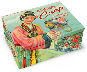 Decorated Tin Cigar Box - storage & organisers