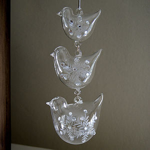 Glass Bird Hanging Decoration - tree decorations