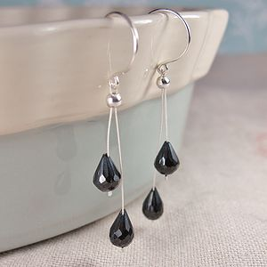 A Pair Of Black Spinel Wishbone Earrings - earrings