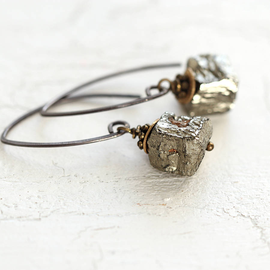 Silver And Raw Pyrite Cube Earrings