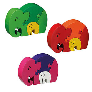Wooden Mother & Baby Elephant Jigsaw Puzzle - toys & games
