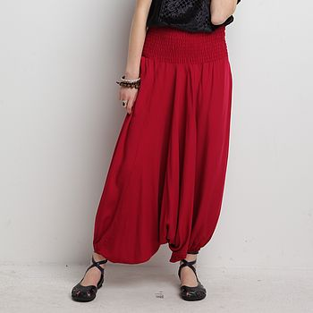Shirred Waist Harem Trousers In Viscose Red