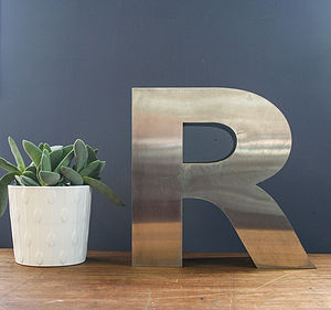 Vintage Metal Letter R - children's decorative accessories