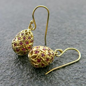 Ruby Pavé Egg Drop Gold Vermeil Earrings - 40th anniversary: ruby