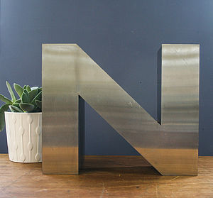 Vintage Metal Letter N - children's room accessories