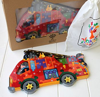 Wooden Fire Engine Alphabet Jigsaw