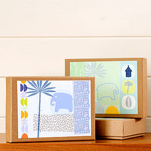 Set Of Eight Safari Cards Giftbox