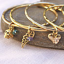 Gold Charm Bangle Made With Swarovski Crystals