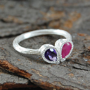 Ruby Amethyst Silver Teardrop Stacking Ring