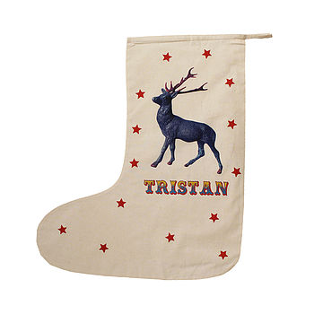 Personalised Christmas Stocking With Stag